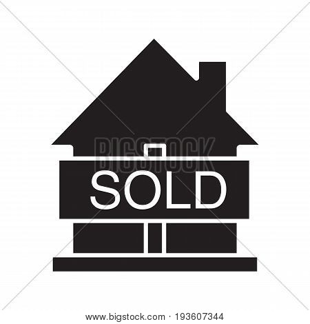 Sold house glyph icon. Silhouette symbol. Real estate purchase. House with sold sign. Negative space. Vector isolated illustration