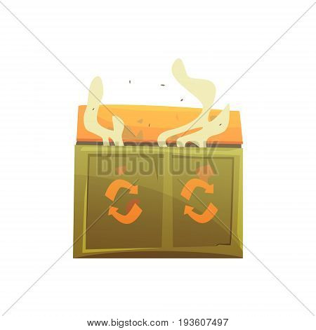 Large khaki and orange wheelie bin full of rubbish, waste processing and utilization cartoon vector Illustration isolated on a white background