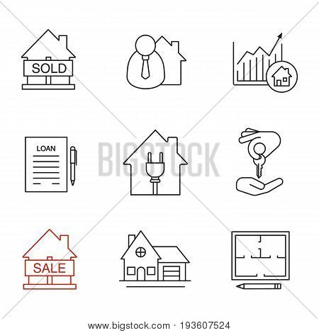 Real estate market linear icons set. Sold house, broker, loan agreement, cottage, floor plan, house for sale, chart, homebuyer. Thin line contour symbols. Isolated vector outline illustrations