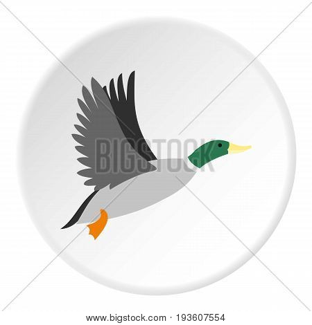 Duck icon in flat circle isolated vector illustration for web