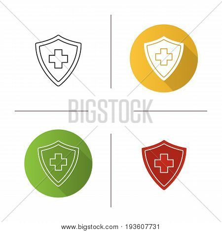 Medical insurance icon. Flat design, linear and glyph color styles. Security shield with medical cross. Insurance policy. Isolated vector illustrations