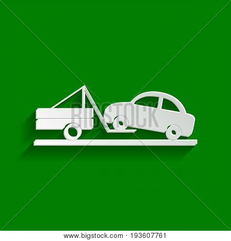 Tow truck sign. Vector. Paper whitish icon with soft shadow on green background.