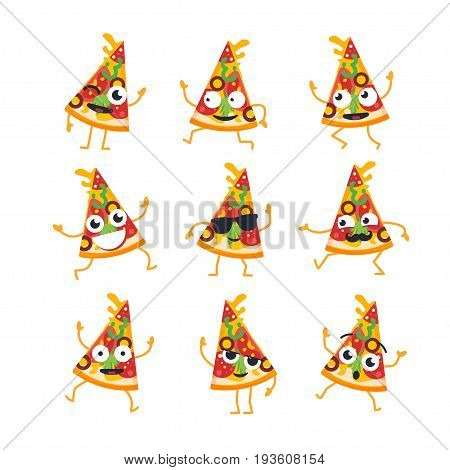 Pizza Cartoon Character - modern vector template set of mascot illustrations. Gift images of a pizza slice dancing, smiling, having a good time. Emoticons, happiness, coolness, , surprise, emotions