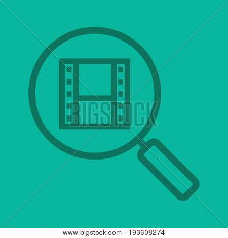 Movie search linear icon. Magnifying glass with film strip. Thick line outline symbols on color background. Vector illustration