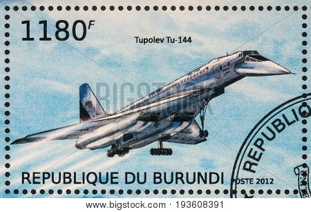 Moscow Russia - July 02 2017: A stamp printed in Burundi shows supersonic passenger airliner Tupolev Tu-144 Soviet Union series