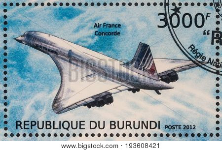 Moscow Russia - July 02 2017: A stamp printed in Burundi shows supersonic passenger airliner Concorde Air France series