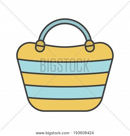 Beach bag color icon. Beach tote. Isolated vector illustration