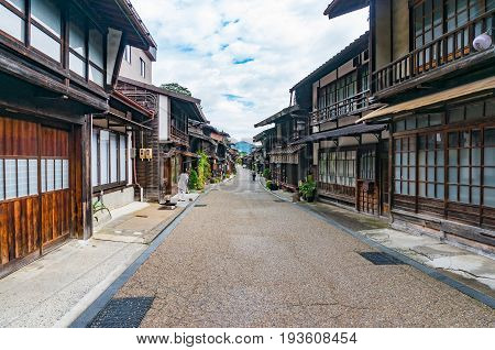 Main Street With Historic Traditional Japanese Wooden Buildings In Narai