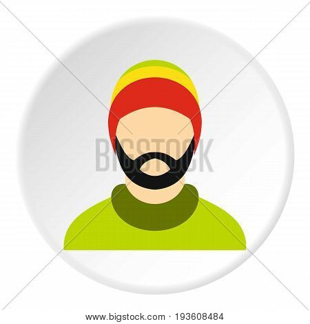 Man wearing rastafarian hat icon in flat circle isolated vector illustration for web
