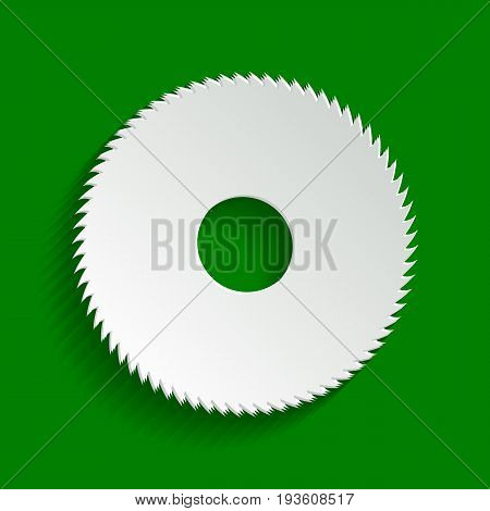 Saw sign. Vector. Paper whitish icon with soft shadow on green background.