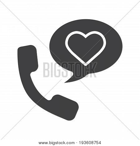 Romantic phone talk glyph icon. Silhouette symbol. Handset with heart inside speech bubble. Negative space. Vector isolated illustration