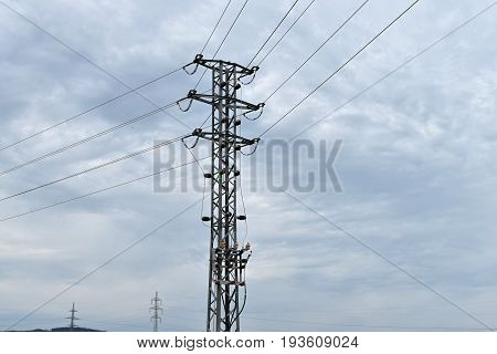 High voltage pole. Energy industry structure power.