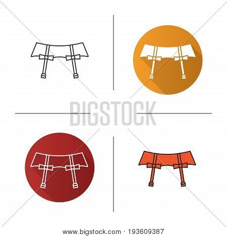 Underwear garters icon. Flat design, linear and color styles. Isolated vector illustrations