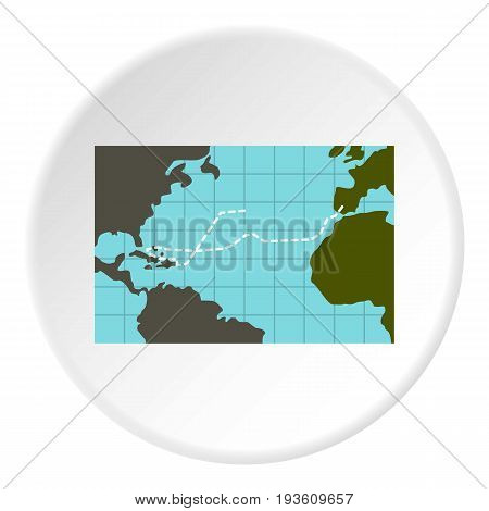 Christopher Columbus voyage icon in flat circle isolated vector illustration for web