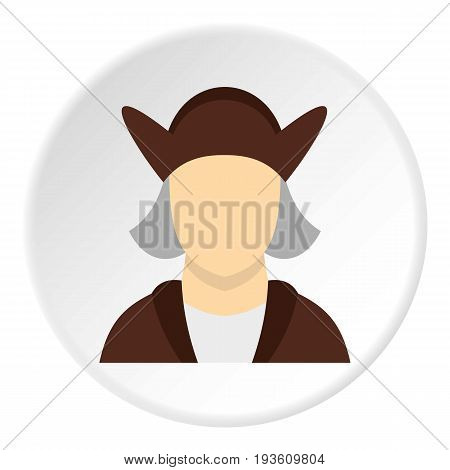 Man wearing in Christopher Columbus costume icon in flat circle isolated vector illustration for web