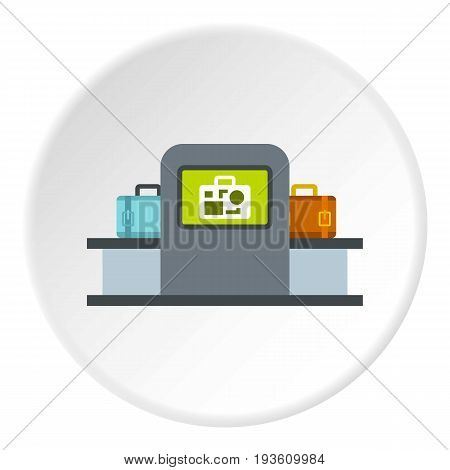 Airport baggage security scanner icon in flat circle isolated vector illustration for web