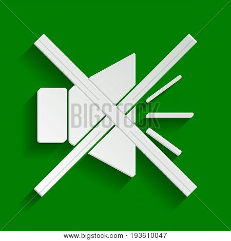 Sound sign illustration with mute mark. Vector. Paper whitish icon with soft shadow on green background.