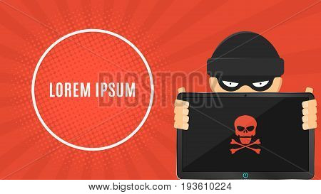 The hacker is holding a hacked electronic device in his hands. Electronic high-tech tablet. Banner for your project. Web programming. Skull on the screen. Vector illustration