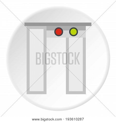 Security gates with metal detector and scanner icon in flat circle isolated vector illustration for web