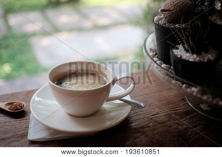 cup of coffee americano coffee morning concept.