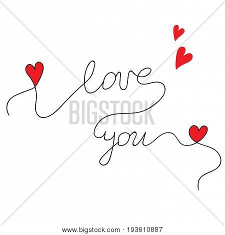 Beautiful lettering I love you with little red hearts. Quote for Valentines day and other love design. Love sign with I love you text and hearts.