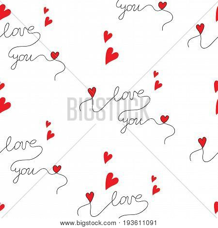 Seamless pattern with beautiful lettering I love you with little red hearts. Vector seamless pattern for Valentine day and other greeting card or design.