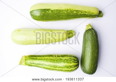 Zucchini, Green Summer Squash On White