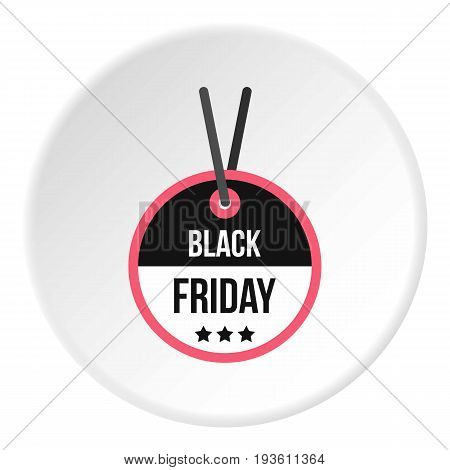 Black Friday sale tag icon in flat circle isolated vector illustration for web