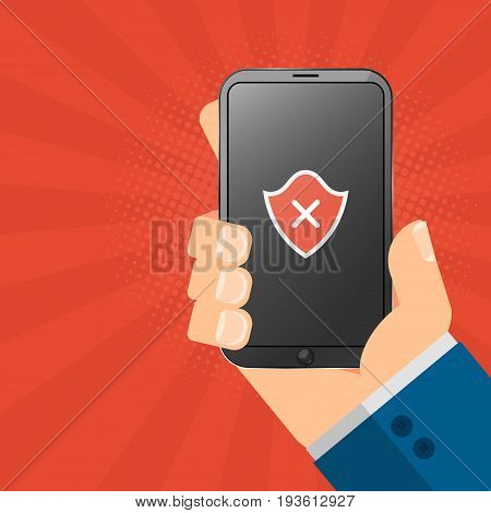 The hacker is holding a hacked gadget in his hands. Electronic high-tech phone smartphone. Web programming. A red shield on the screen. Vector illustration
