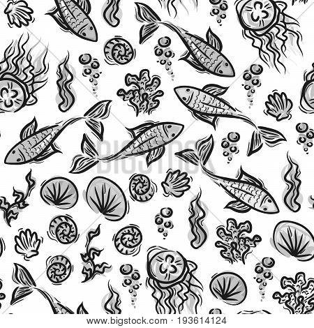 Underwater Pattern Fish Ocean Plants Kids Summer Pattern