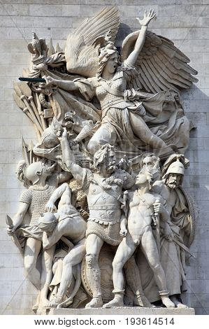 Paris, France, September 16, 2011 :  Le Depart, sculpture on the Arc De Triomphe which celebrates the cause of the French First Republic and shows winged liberty above the volunteers