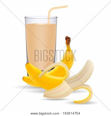 Set Of Banana Juice And Two Fresh Bananas Isolated On A White Background. Realistic Vector Illustration.