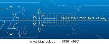 Abstract airport white lines composition, transportation aviation background, vector design wallpaper