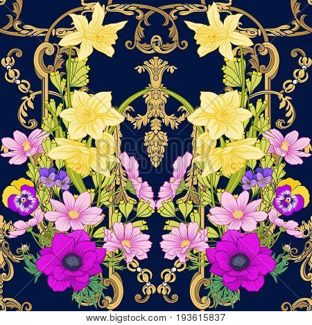 Seamless pattern with poppy flowers, daffodils, anemones, violets in botanical vintage style with rococo decor on black background . Stock line vector illustration.
