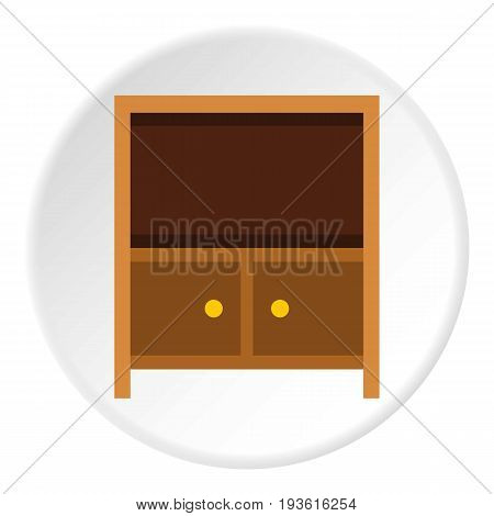 Curbstone under TV icon in flat circle isolated vector illustration for web
