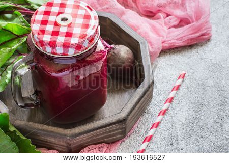 Detox drink Of beets. Red smoothies, detox concept. copy space