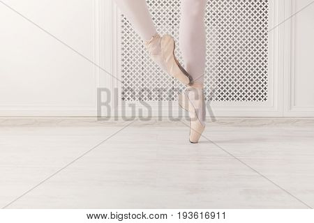Ballerina legs dance on pointe, ballet dancer concept background