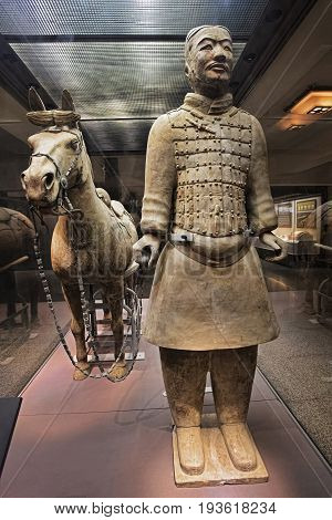 Xian China May 30 2017 The world famous Terracotta Army part of the Mausoleum of the First Qin Emperor and a UNESCO World Heritage Site located in Xian China
