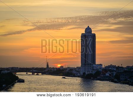 River Scenery At Sunset In Bangkok, Thailand