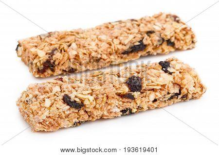 Granola bar (Cereal bar) on white background