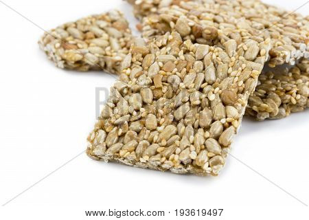 Granola Bar (sesame And Sunflower Seed Bar) On White Background