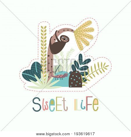 Jungle background with tropical plants and a cute sloth and lizard on stone in a doodle style. Vector illustration for children.