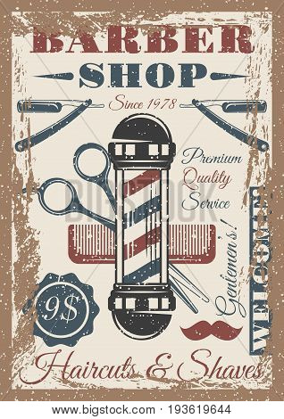 Barber shop vintage colored poster with pole, razor, mustache
