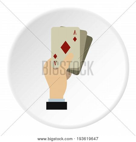 Hand holding playing cards icon in flat circle isolated vector illustration for web
