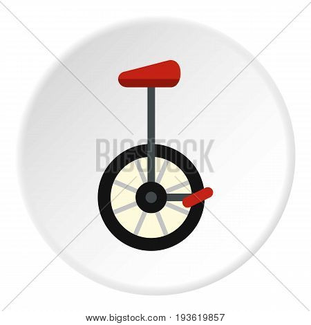 Unicycle icon in flat circle isolated vector illustration for web
