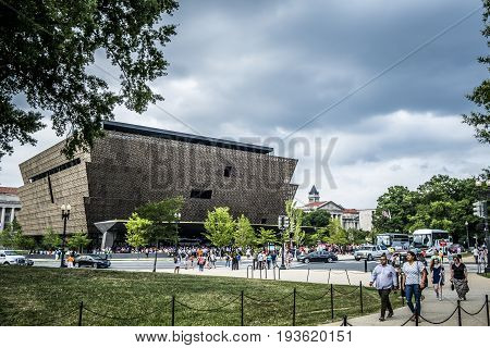 Washington DC, June 2017, United States: View of the National Museum of African American History and Culture from the National Mall in Washington DC munumental park where are the most beautiful museums in the United States capital,