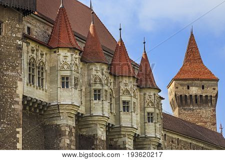 Corvin Castle, Romania, a Gothic-Renaissance castle in Hunedoara, Transylvania, summertime towers