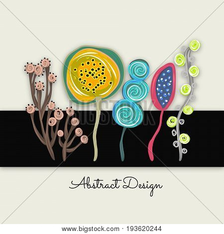Abstract colorful trees or flowers. Sloppy style. Creative artistic background. It can be used for design packaging card cover label invitation. Vector illustration eps10