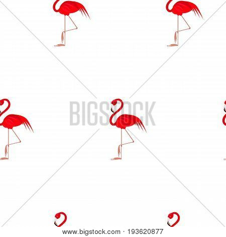 Flamingo seamless pattern. Flamingo vector flat background design for fabric and decor. Pink flamingo on white background. Simlpe design.