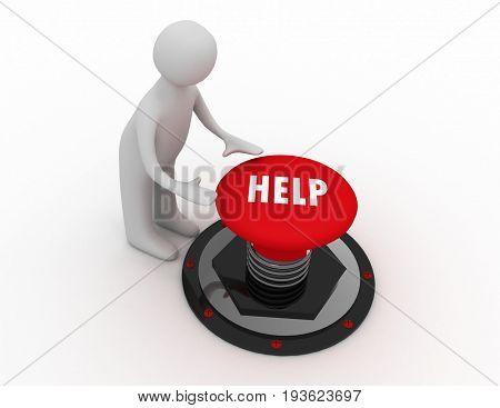 3d man push button help . 3d rendered illustration